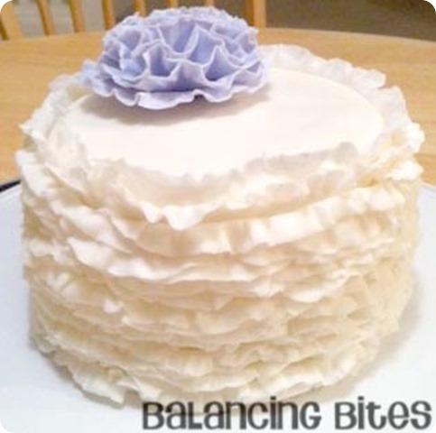 White Ruffle Cake-Balancing Bites
