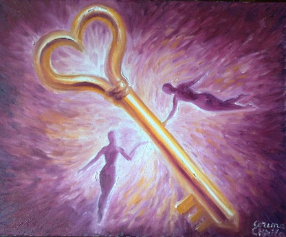 Cheia iubirii pictura ulei pe panza- The key of love oil on canvas painting