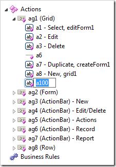 Action node in Rename mode.