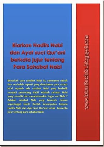 Biarkan ayat suci qur'ani dan hadits nabi berkata jujur tentang para sahabat nabi