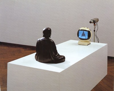 JVC Videosphere in installation art TV Buddah by Nam June Paik
