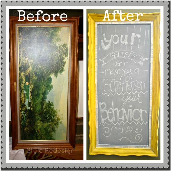 before & after of cece caldwell chalkboard