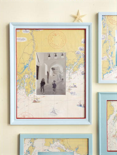 For a more personal touch, frame travel photos with a map of that destination. (Martha Stewart Living, August 2002)