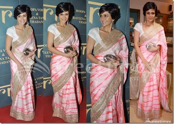 Mandira Bedi in Pink Saree | sareetimes