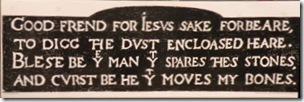 la malédiction gravée sur la tombe de Shakespeare