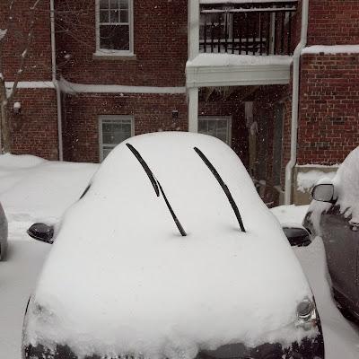 雪に埋もれたPrius Cことアクア