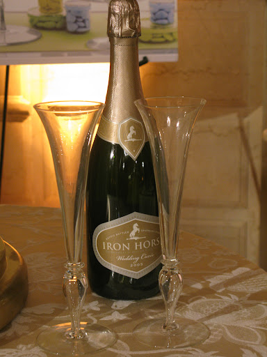 We would serve Iron Horse Wedding Cuvee sparkling wine.