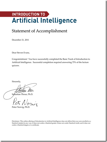 Introduction To Artificial Intelligence - Statement of Accomplishment for Steven Evans
