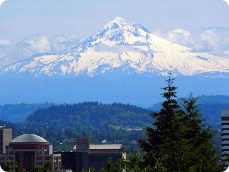 Mt Hood watching over city.