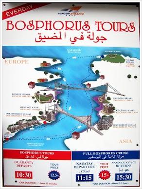 Маршрут морской прогулки по Босфору.