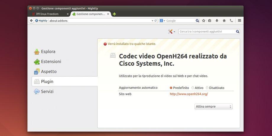 Firefox plugin OpenH264