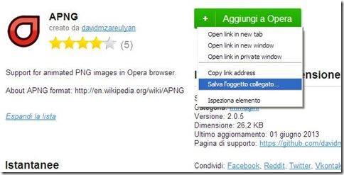 Scaricare nel PC estensione Opera