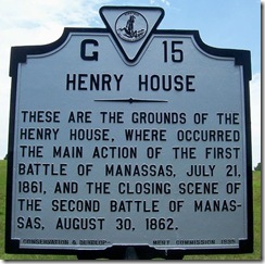 Henry House marker G-15 at First Manassas Battlefield