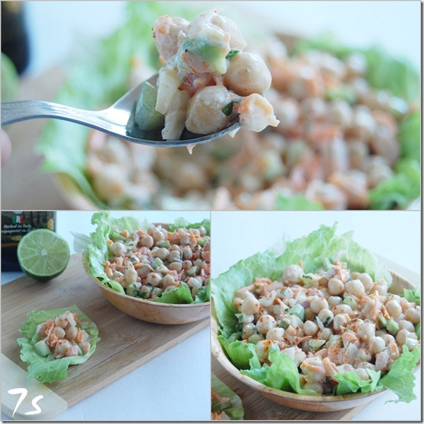 Chickpea salad collage