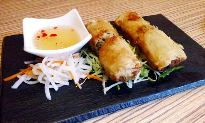 Pork and crab crispy spring rolls