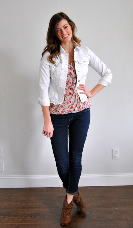 loose tee + jean jacket + skinnies + booties