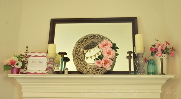 Spring mantle with Peony wreath