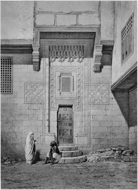 Bayt al-Emir, outer door to the harem, 17th century. As pointed out by Prisse, harem entrances, although elegantly adorned by carved geometnc designs and muqamas, are quite modest so as not to invite strangers into this private space, This depiction includes a guard, presumably a eunuch to protect the inhabitants.