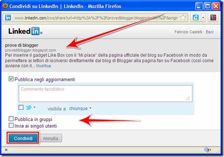 come mettere pulsante condivisione condividi su linkedin blog blogger wordpress