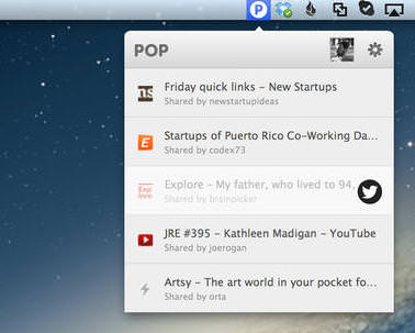 Pop interesting links twitter feed toolbar mac