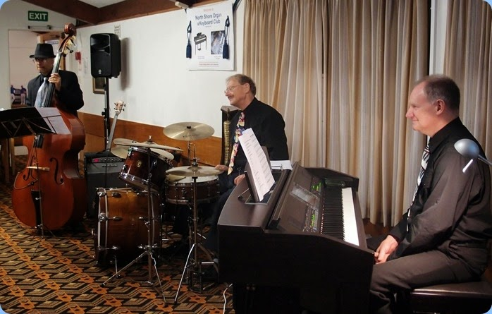 Our special guest artists this month were Dave Hallam on keyboard, Damien Shalfoon on drums, and Guy Halpe on double bass and electric bass - The Dave Hallam Trio. Photo courtesy of Dennis Lyons.