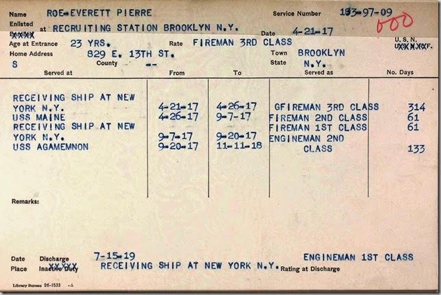 ROE_Everett_Pierre_Mlitary_Service_Card_1917-1919_US_Navy