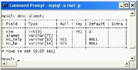 Hasil pembuatan Tabel phpMyAdmin control Panel