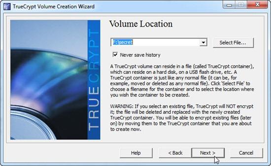 Menentukan lokasi file volume drive di program TrueCrypt