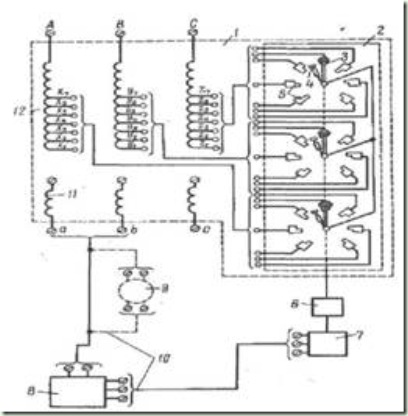 схема регулируемых трансформаторов с шестью ступенями регулирования