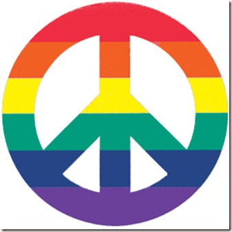 Rainbow flags gay lesbian glbt Peace Signs (2949)