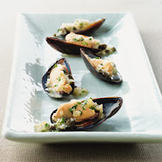 Mussels on the Half Shell with Ravigote Sauce
