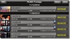 صورة لملفات الفيديو التى تم إلتقاطها بواسطة تطبيق FiLMiC Pro