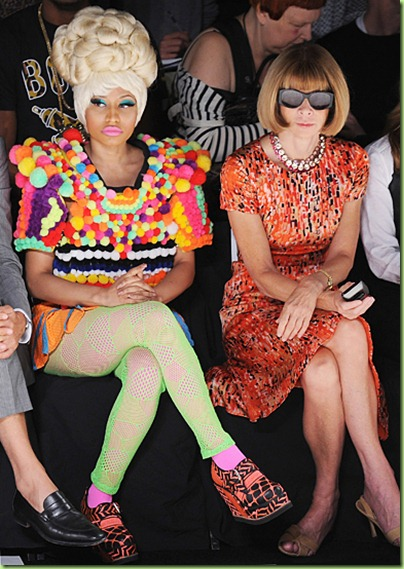 Nicki Minaj and Anna Wintour attend the Carolina Herrera Spring 2012 fashion show during Mercedes-Benz Fashion Week at The Theater at Lincoln Center on September 12, 2011 in New York City.