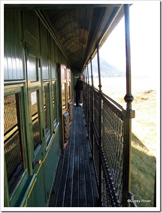 "Outside corridor of the 1898 ""Birdcage"" carriage."