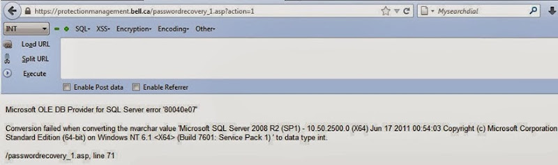 Attackers' screen grab of exception disclosing database version