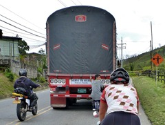 How the local cyclists climb the hills in Colombia.