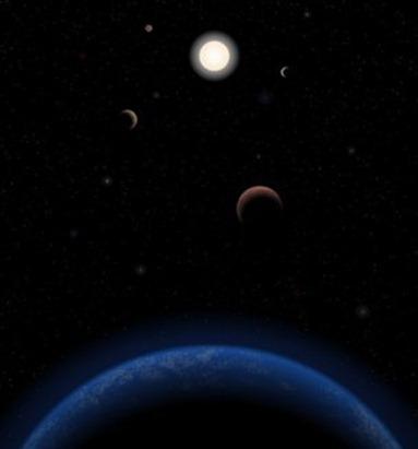 ilustração do sistema planetário Tau Ceti