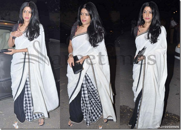 Swati_Shetty_White_Black_Saree
