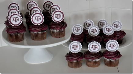 TEXAS A&amp;M CUPCAKE TOPPERS (2)