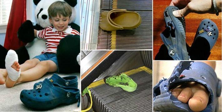crocs acidente escada rolante fotos