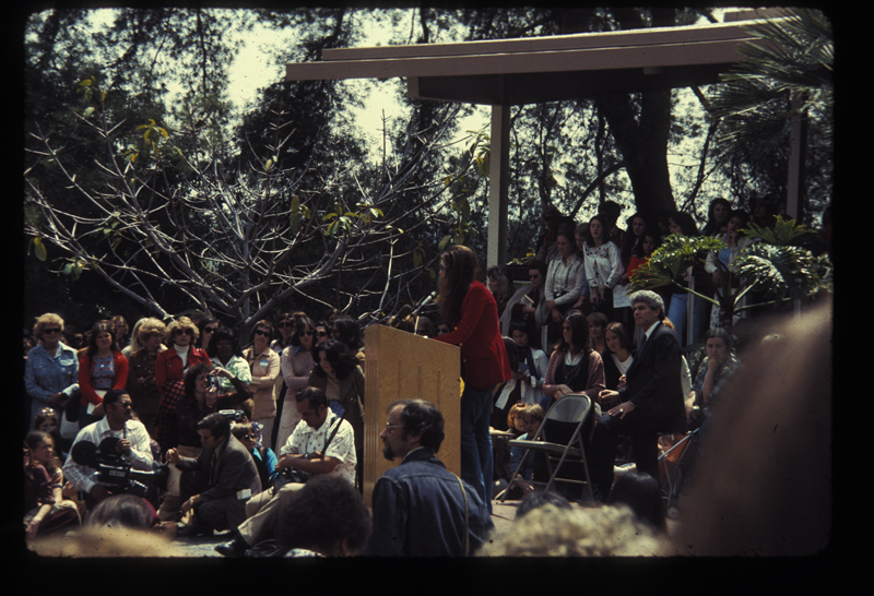 Gloria Steinem speaks in favor of the Equal Rights Amendent (ERA). Circa 1975