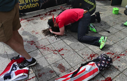 Boston Marathon Bombing US flags