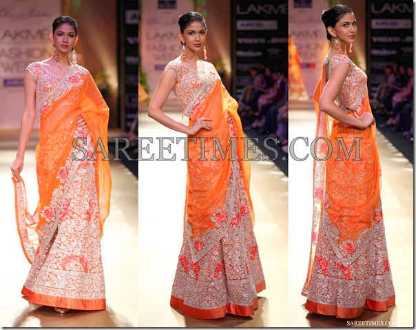 Pallavi_Jaikishan_Orange_Embroidery_Net_Sari
