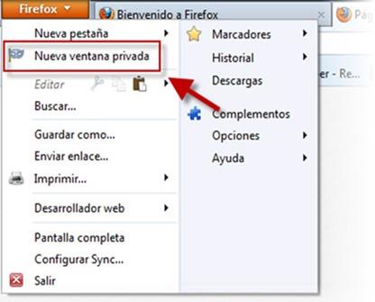 Navegar de manera anónima en Firefox