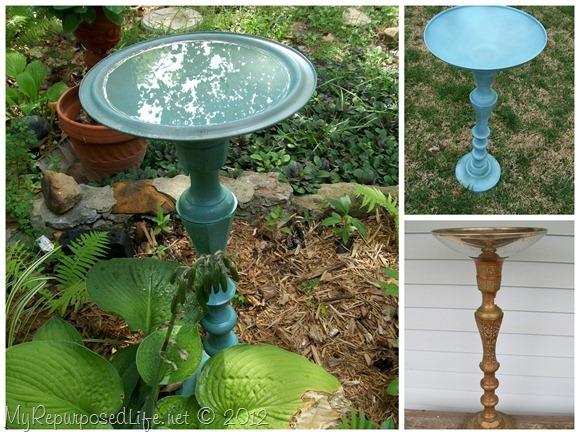 candlestick birdbath