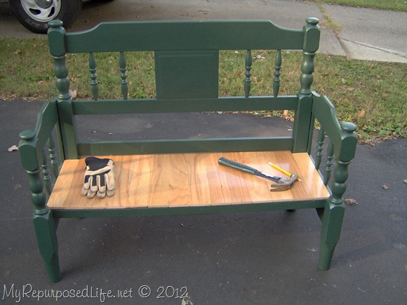 green headboard bench