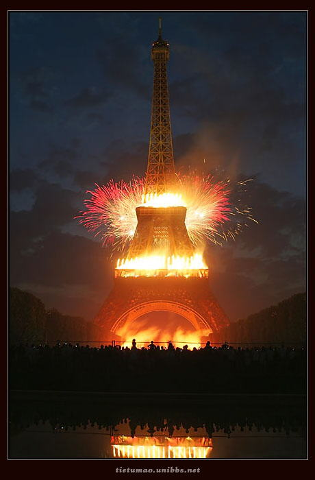 Eiffel Tower on Fire:On the occasion of Bastille Day (French National Holiday July 14)