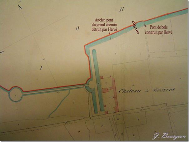 Sur le cadastre de 1839 les ponts dont il est question sont portés. Nous les avons signalés par des * et nous avons mentionné l'emplacement de la digue de 1653