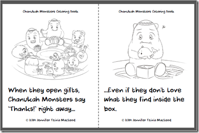 FREE Chanukah Monsters Colouring Book, by Jennifer Tzivia MacLeod