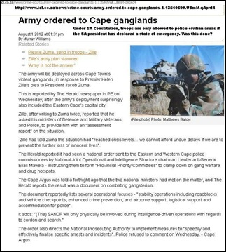 SADF ORDERED TO POLICE CIVILIAN AREAS WITHOUT PRESIDENT DECLARING STATE OF EMERGENCY JULY 31 2012